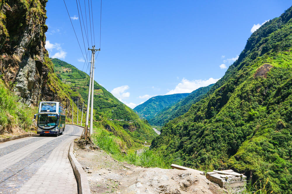 Bus travel South America - road in a valley.