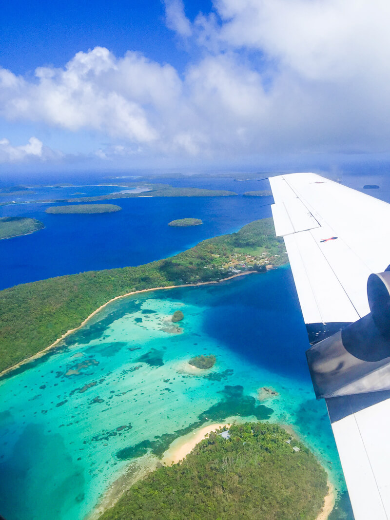 Airplane view over Vava'u - one of the best places in Tonga