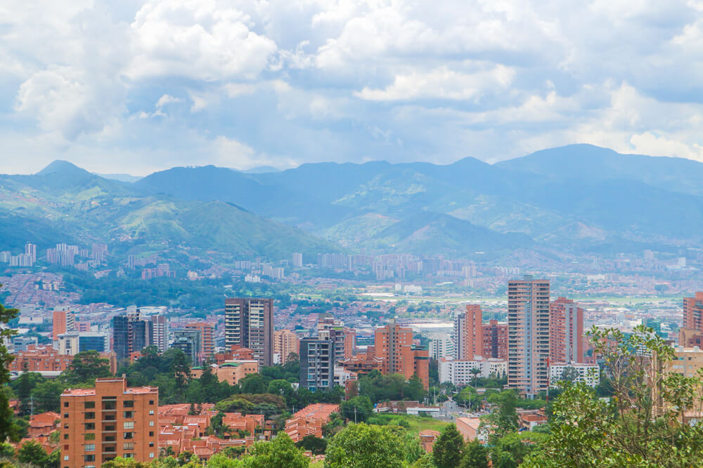 View of Medellin from El Tesoro Shopping Mall - one of the city's points of interest!