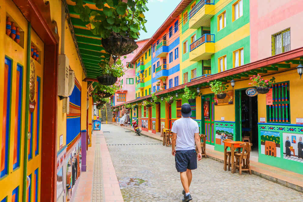 A colourful street in Guatape - outside of Medellin, but still a point of interest for visitors!