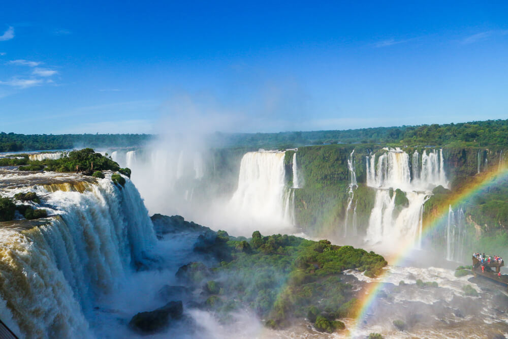 Overview of the mighty Iguazu falls Brazil