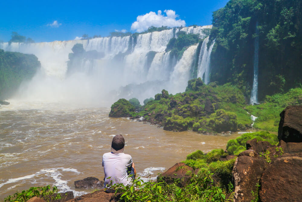 Sitting down and taking in the view of Iguazu falls Argentina