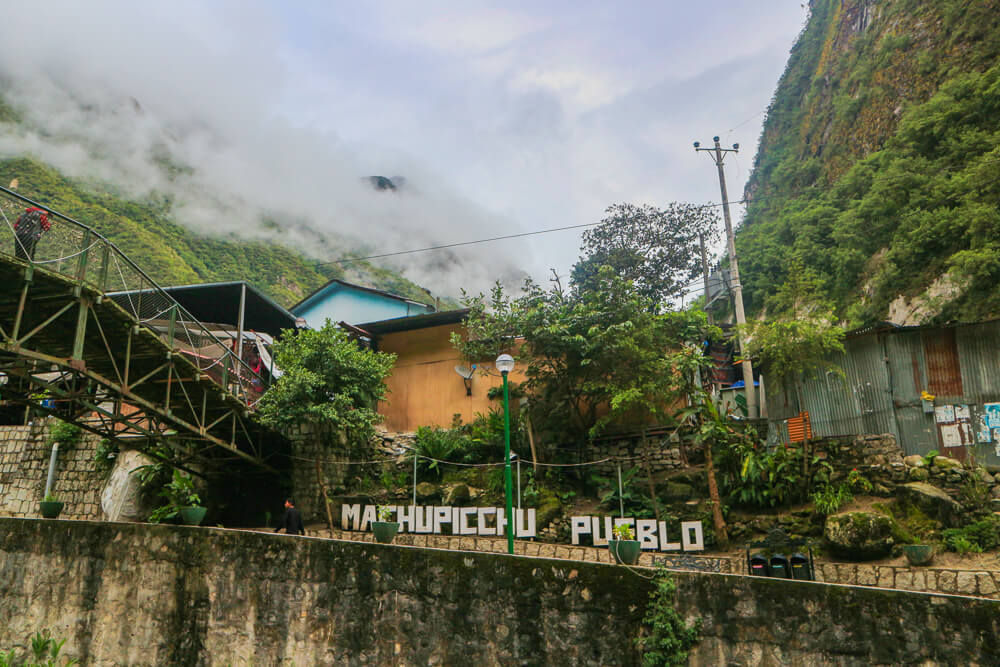 Aguas Calientes is the small town you'll stay at if getting to Machu picchu via train