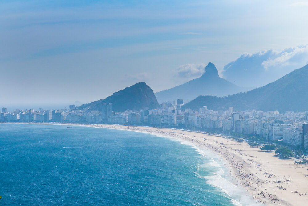 View of Copacabana beach from Leme Fort - one of the hidden gems in Rio