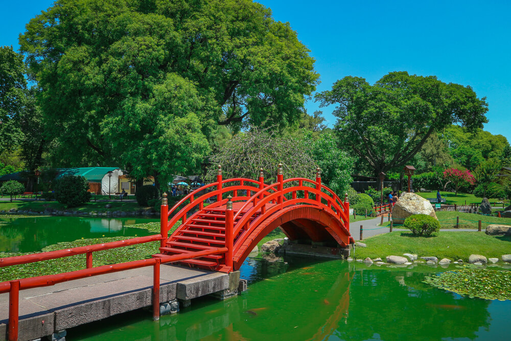 Red bridge in Japanese Gardens a Buenos Aires sight
