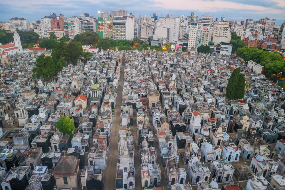 Sights in Buenos Aires- view of Recoleta Cemetery