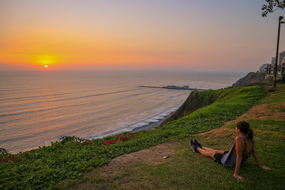 Sunset from Miraflores, Lima - first stop on your 14 day Peru Itinerary