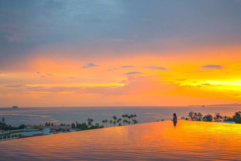 Sunset at Ao Nang Cliff Resort- covered in our Ao Nang travel guide