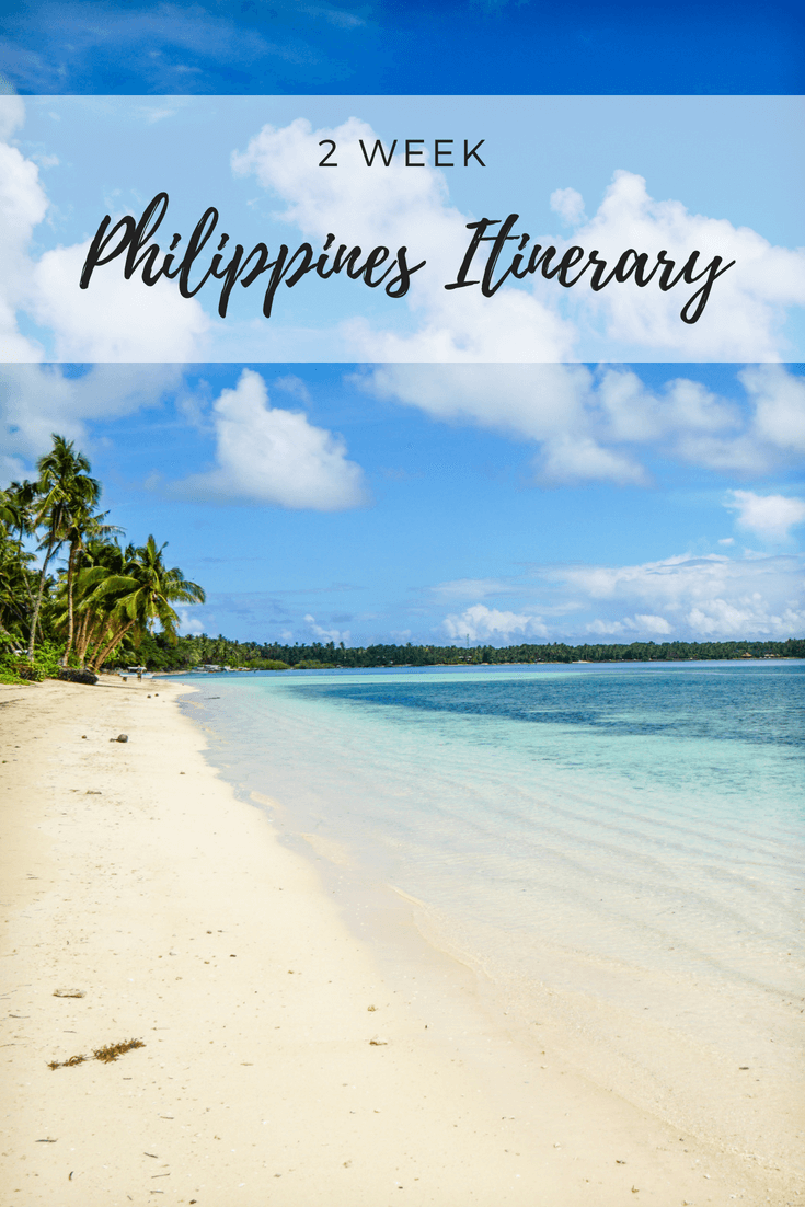 Coming up with a Philippines itinerary covering the best islands, beaches and places to visit within 2 weeks can be hard. This itinerary in paradise covers travel to amazing destinations – from Siargao to Cebu to Coron and El Nido in Palawan plus more! Traveller's bucket lists now include trips to the Philippines, to adventure through great nature on island hopping tours. This Philippines itinerary acts as a guide with cost info, budget tips, things to do in places and more! #philippines #travel