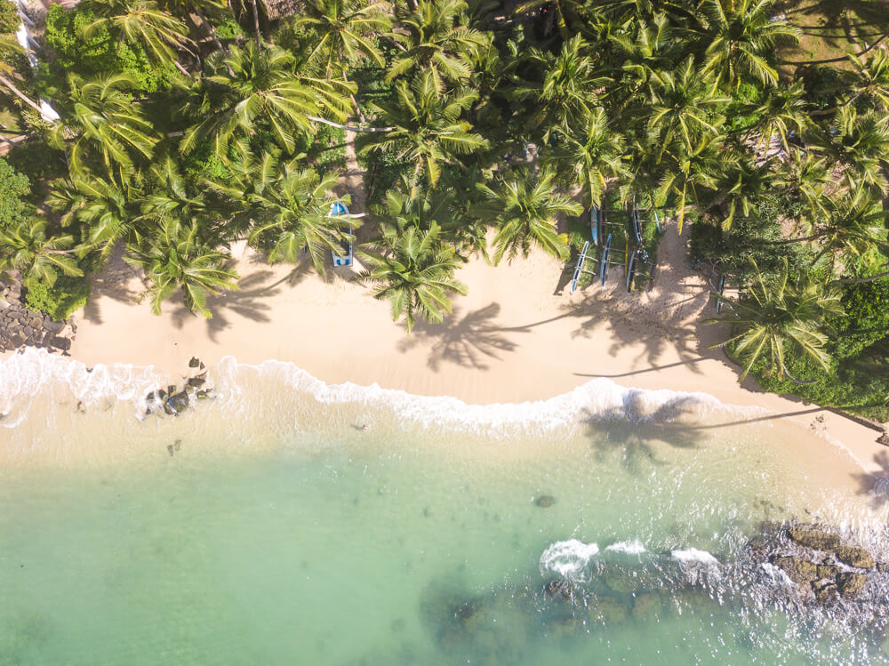 Drone shot of Mirissa - what to pack for Sri Lanka