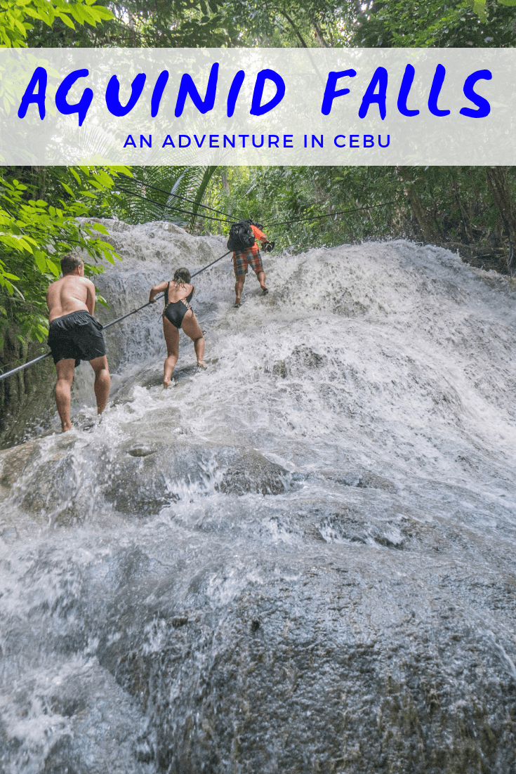 Aguinid falls is one of the best places to visit for a fun adventure into nature on Cebu Island. This waterfall has 8 levels, with each fall making up one of the most beautiful places in the Philippines! Some levels there are water pools to swim in, or cliff jumping similar to the canyoneering at Kawasan falls. Aguinid falls should be on your itinerary alongside Coron, El Nido, Siargao and more. This travel guide to Aguinid falls has tips and all you need to know before visiting! #cebu