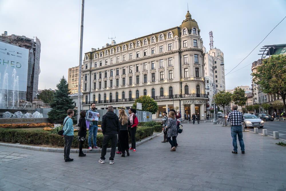 Group walking tour - one of many incredible things to do in Bucharest