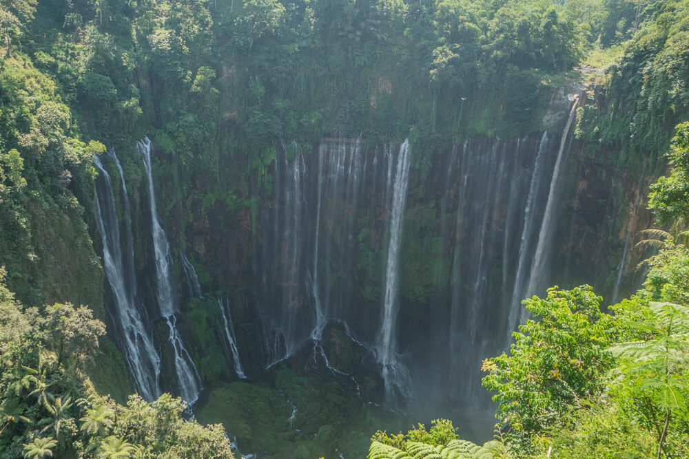 Panoramic view of Tumpak Sewu waterfall