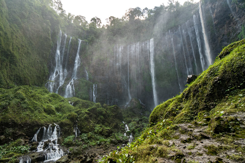 The base of Tumpak Sewu waterfalls
