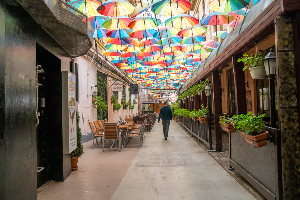Umbrella Street - Instagrammable spot in Bucharest