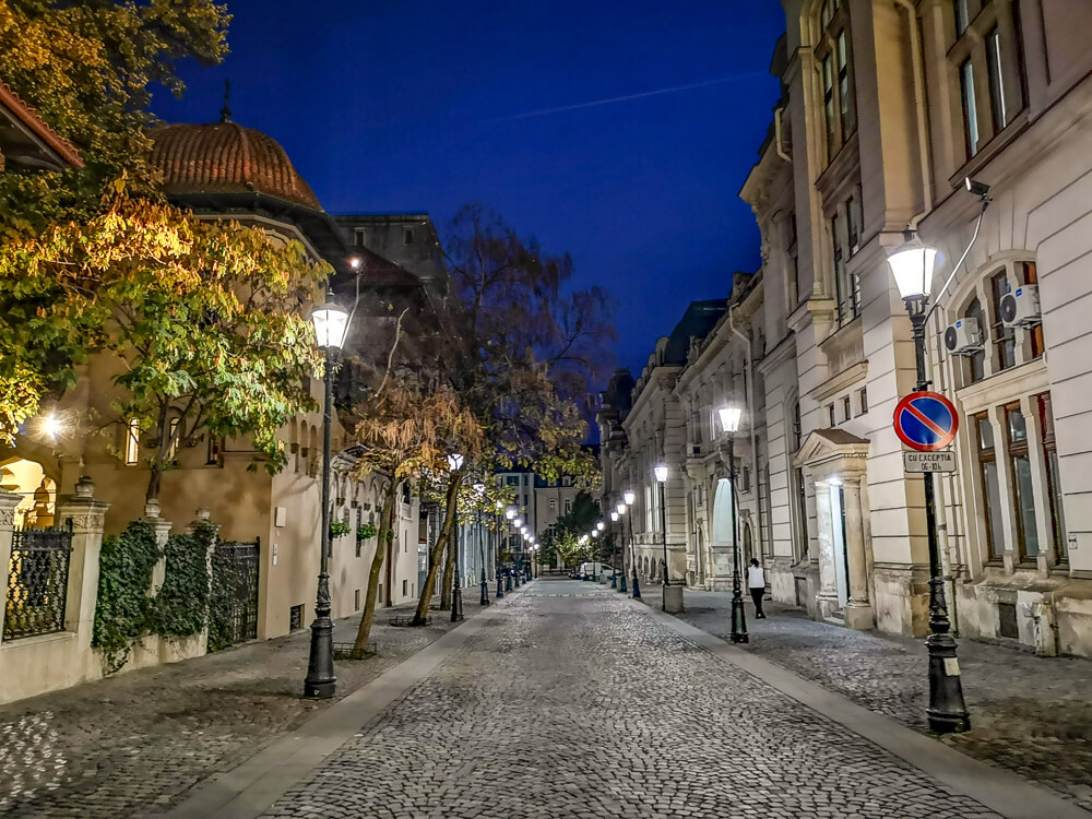 Walking around the Old Town at night is a great thing to do in Bucharest