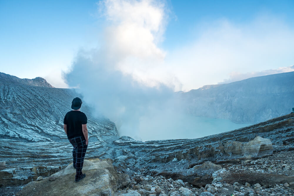 Viewpoint of Kawah Ijen crater lake