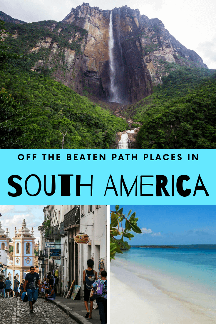South America is full of culture and amazing places to see like beaches or waterfalls or jungles. These off the beaten path places in South America show off the best lesser-known spots in the continent. This list covers Venezuela, Brazil, Bolivia, Argentina, Peru, Suriname, Colombia, Chile and more! Make sure to check out these spots before they get too busy! #southamerica #travel #places