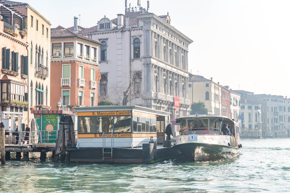 A vaporetto water bus - a cheaper and more practical alternative to gondolas in Venice