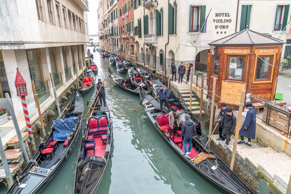 Gondola station - an easy spot to get a ride and to find out the cost of a gondola in Venice