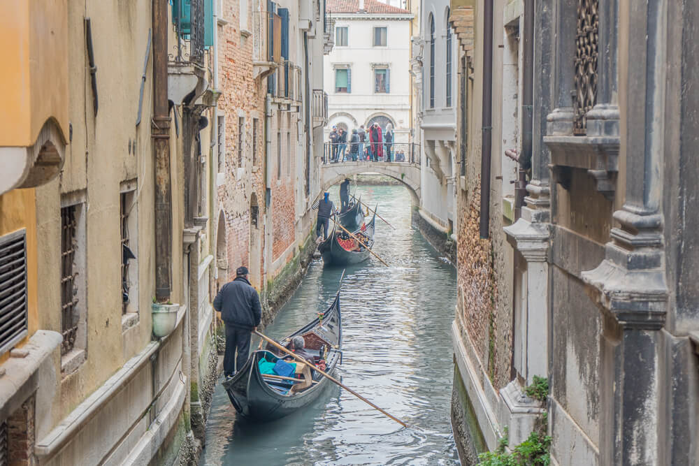 Smaller canals often provide the best gondola route in Venice
