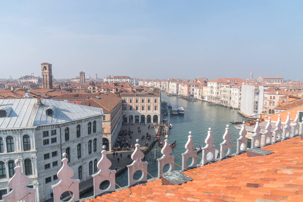 Views of the Grand Canal in Venice from the T Fondaco Rooftop Terrace
