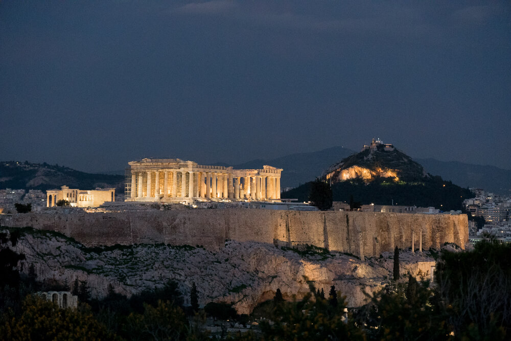Acropolis lit up at night, one of the best sights to see in Athens
