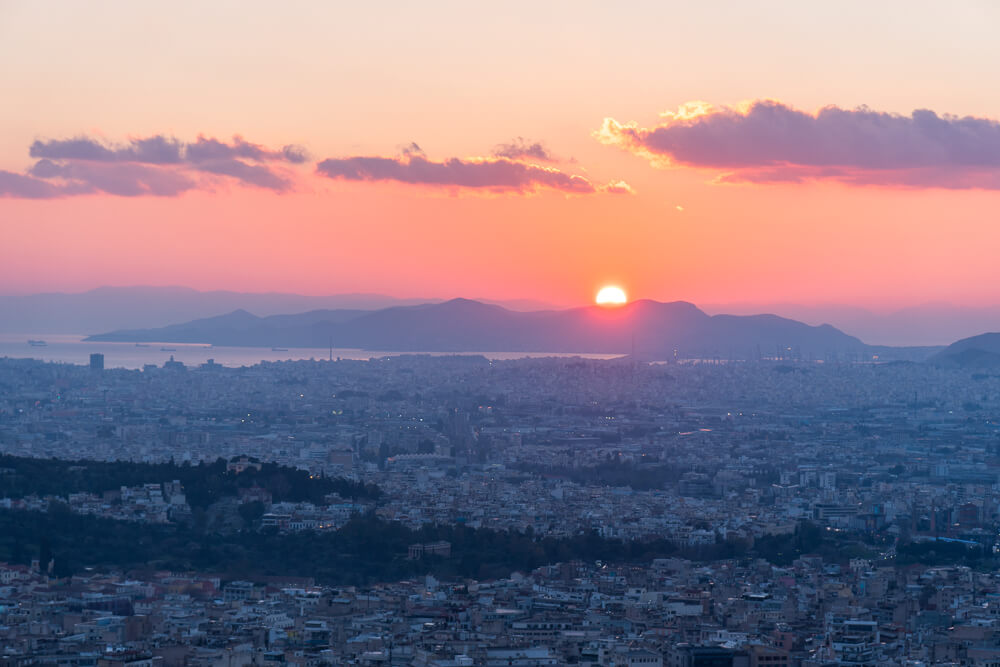 Sunset view from Lycabettus Hill - one of the best places to visit in Athens, Greece