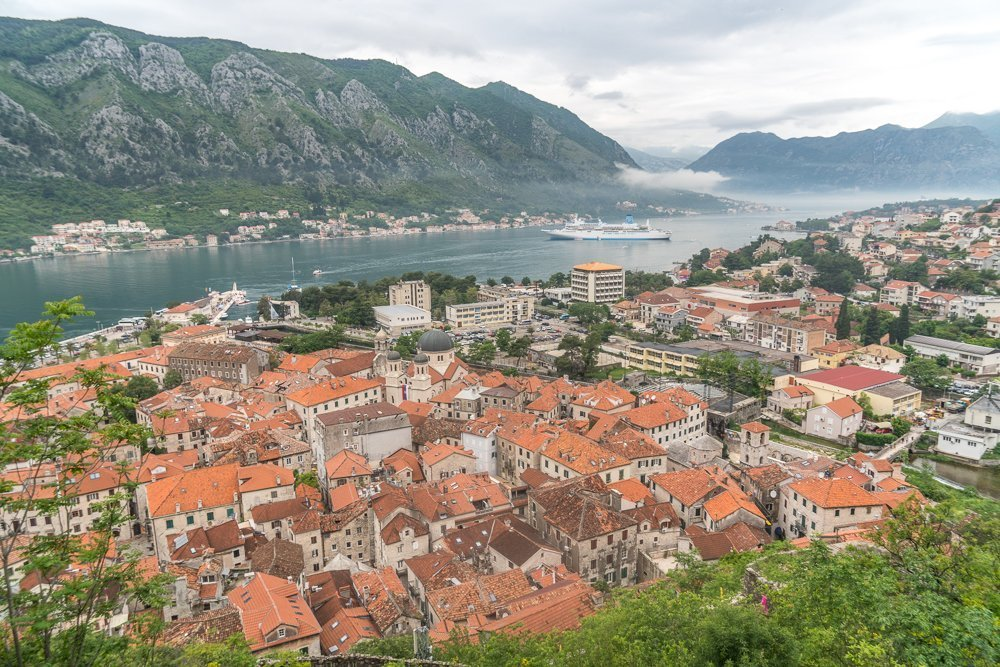Kotor Old Town from above - a great viewpoint to visit on your Montenegro itinerary