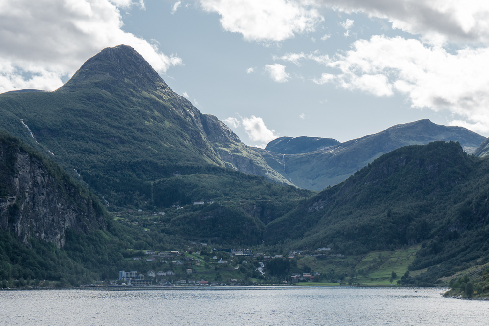View of Geiranger, Norway, from a fjord cruise