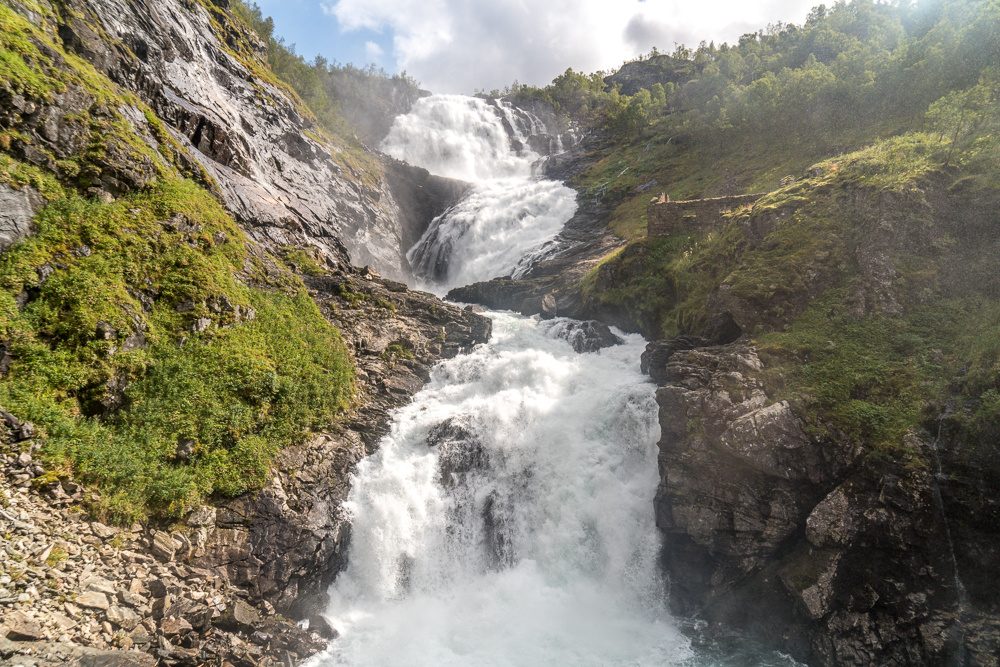 Kjosfossen waterfall - only accessible by the Flam to Myrdal train