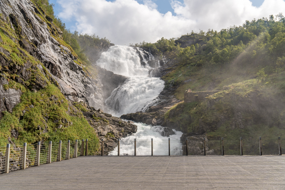 Kjosfossen waterfall viewing platform on the Flam Railway