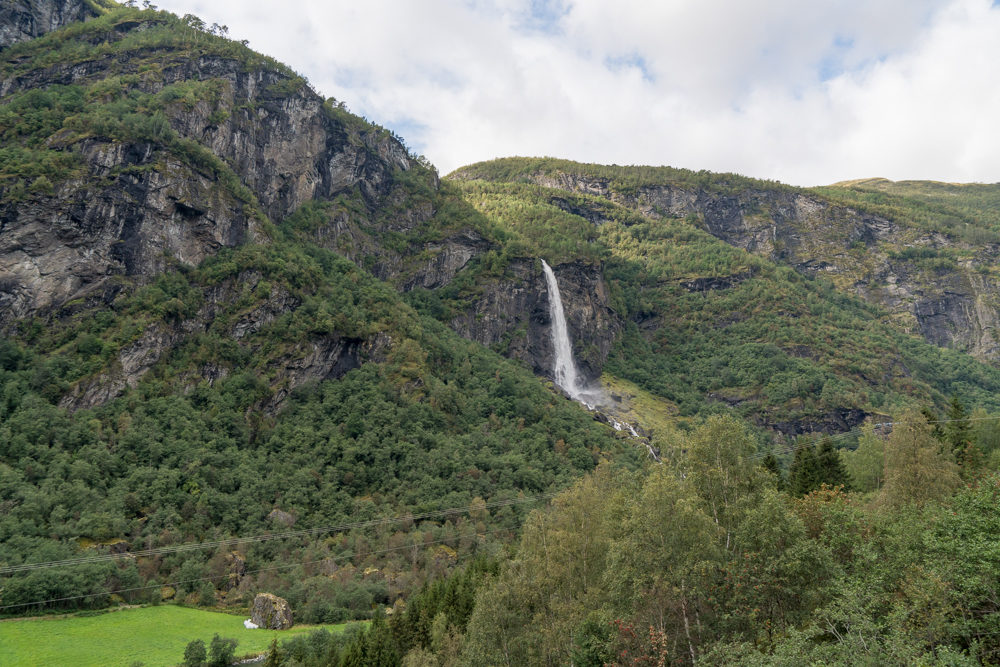 View of a waterfall on the Flam Railway