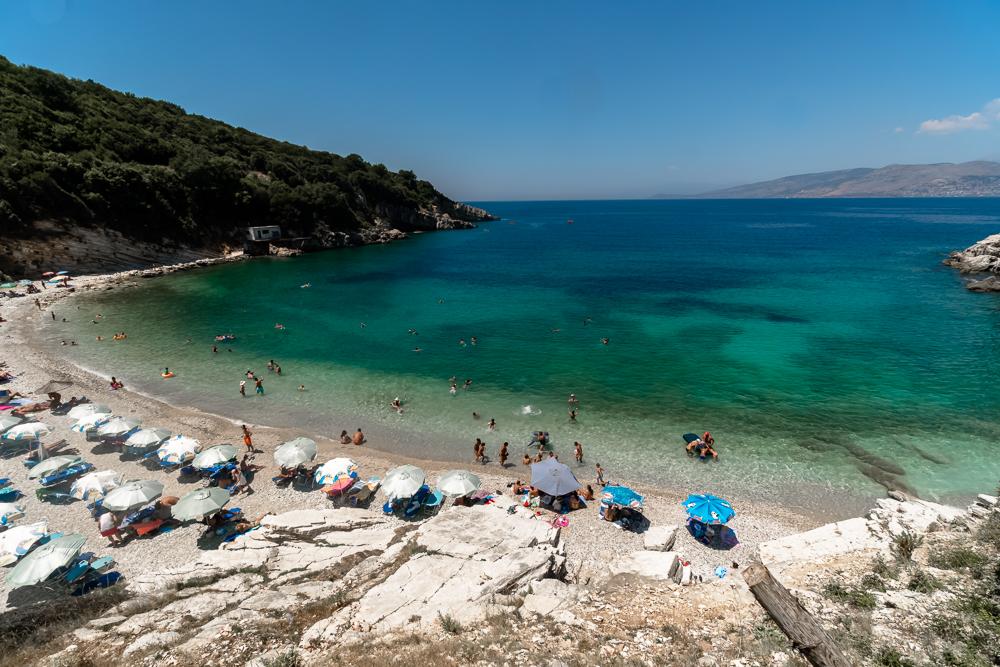 Monastery beach - one of the best beaches near Sarande, Albania