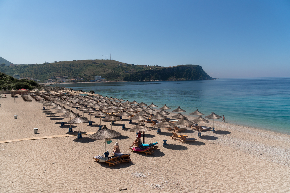 Sunbeds at Himare Beach, Albania