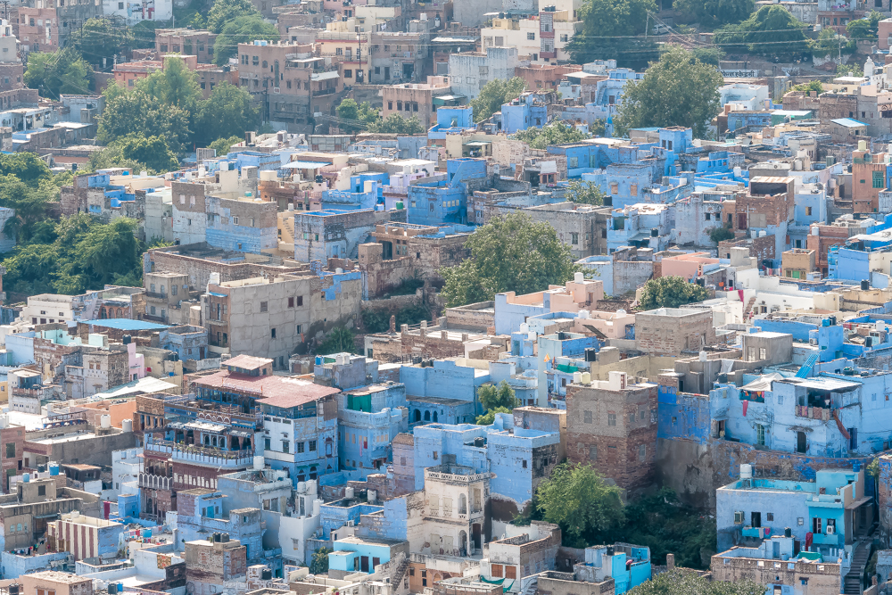 View of Blue city from above, Jaipur to Jodhpur